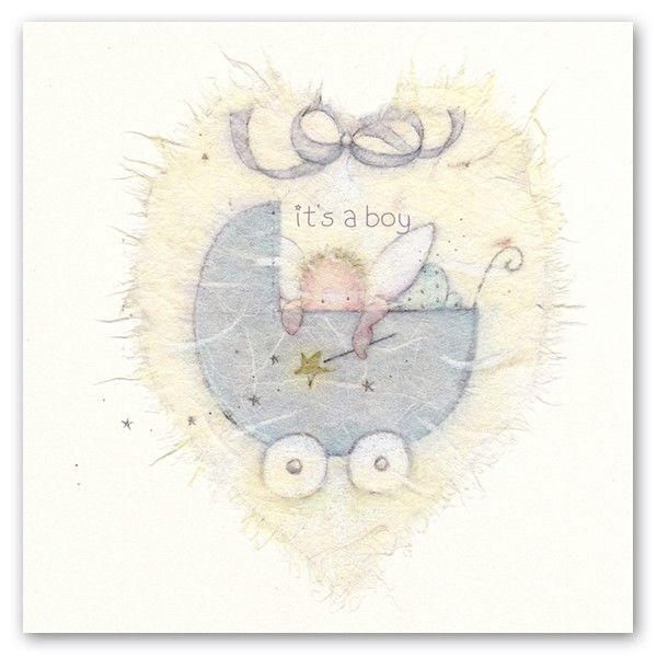 New Baby Cards - IT'S A BOY - Baby Boy Cards -  CUTE Baby & PRAM Greeting C
