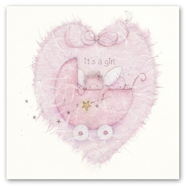New Baby Cards - IT'S A GIRL - Baby Girl Cards - CUTE Baby & PRAM Greeting