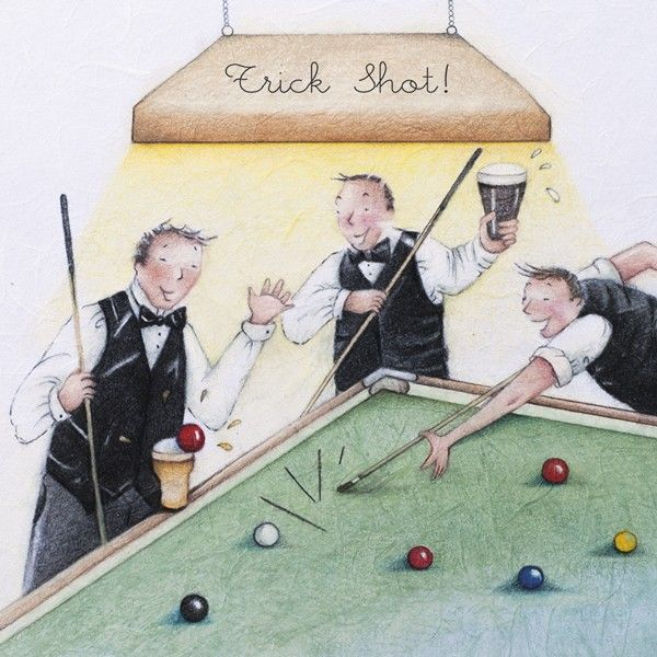 Snooker Cards - TRICK SHOT - Snooker BIRTHDAY Cards - SNOOKER Player BIRTHD