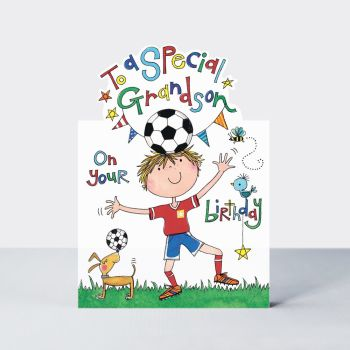 Special Grandson Birthday Cards - TO A Special GRANDSON On Your BIRTHDAY - Kids Football BIRTHDAY Card - Birthday CARD For GRANDSON - BIRTHDAY Cards