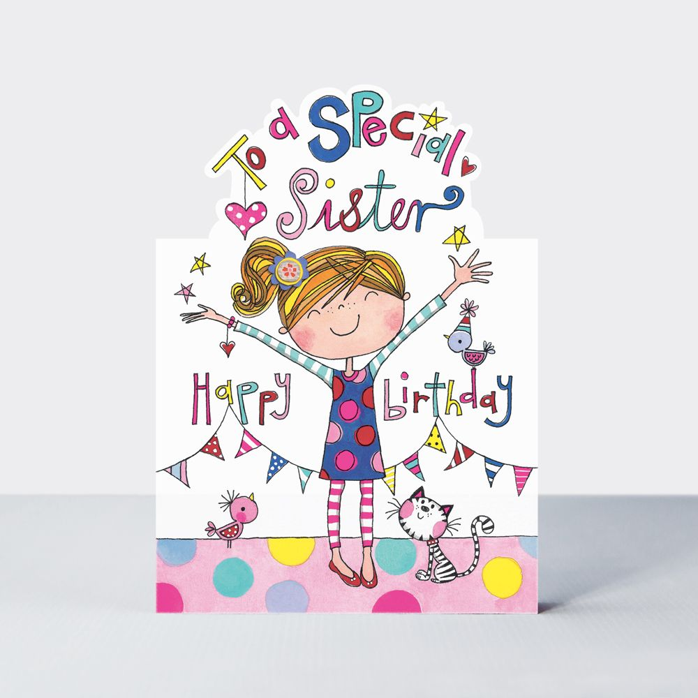 Special Sister Birthday Cards - SISTER Happy BIRTHDAY - Kids CARDS - Cute B