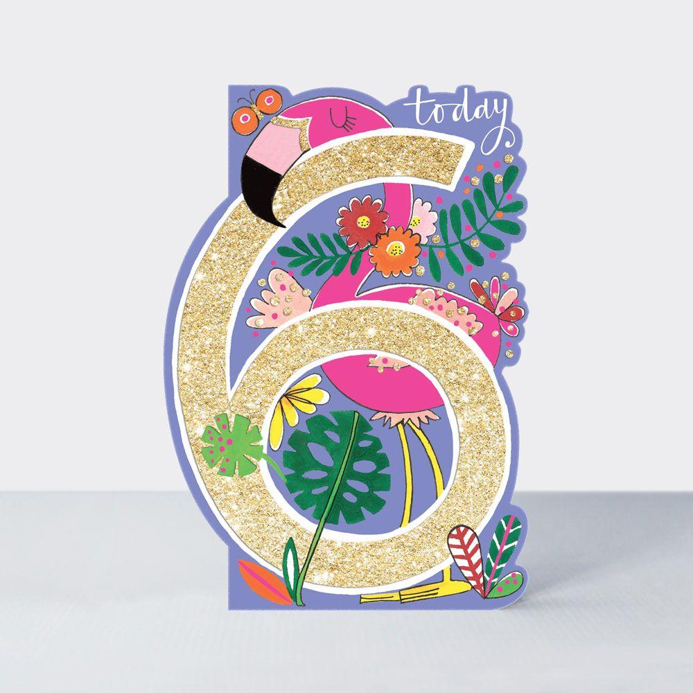 6th Birthday Card Girl - 6 TODAY - Flamingo BIRTHDAY Cards - 6th BIRTHDAY C