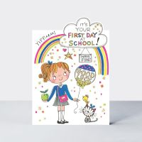 Back To School Card - FIRST Day At SCHOOL & New SCHOOL - Good LUCK - Have FUN - It's Your FIRST Day - Cute NEW School CARDS - INFANT - Primary SCHOOL