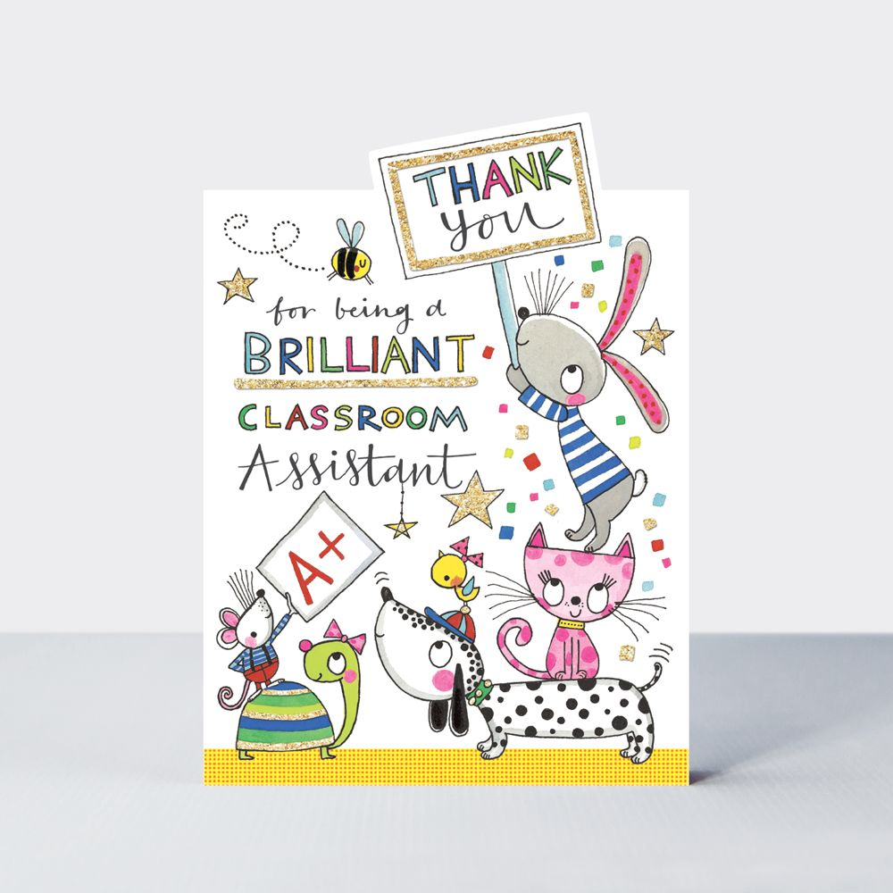 Animals Teaching Assistant Thank You Card - THANK You For BEING A Brilliant