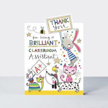 Animals Teaching Assistant Thank You Card - THANK You For BEING A Brilliant CLASSROOM Assistant - TEACHING Assistant THANK You CARDS - Leaving CARDS