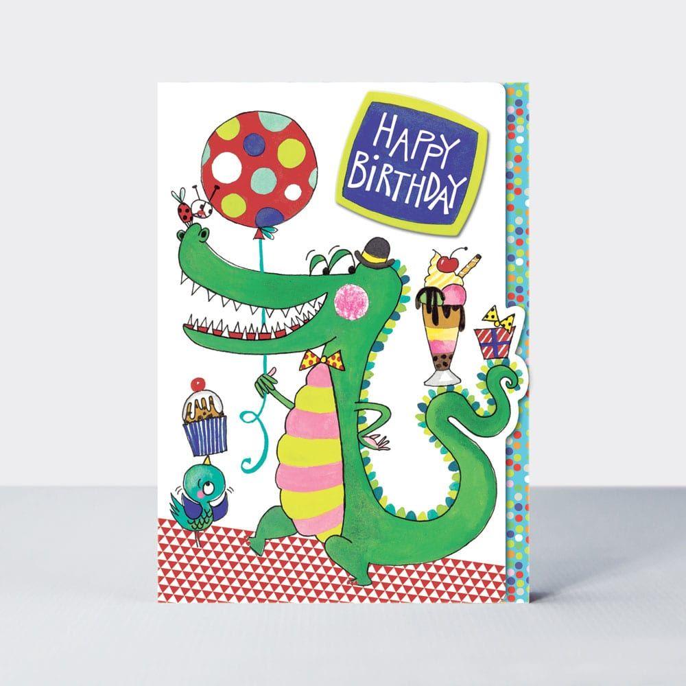 Cute Crocodile Birthday Card - HAPPY Birthday - Kids BIRTHDAY Cards - FUN B