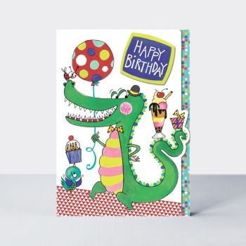 Cute Crocodile Birthday Card - HAPPY Birthday - Kids BIRTHDAY Cards - FUN Birthday CARD For GRANDSON - Stepson - Nephew - COUSIN - Son