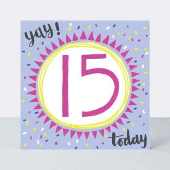 15th Birthday Cards - YAY 15 TODAY - 15th Teenage Birthday CARDS - 15th BIRTHDAY Girl - 15th BIRTHDAY Card FOR - Niece - STEPDAUGHTER - Granddaughter