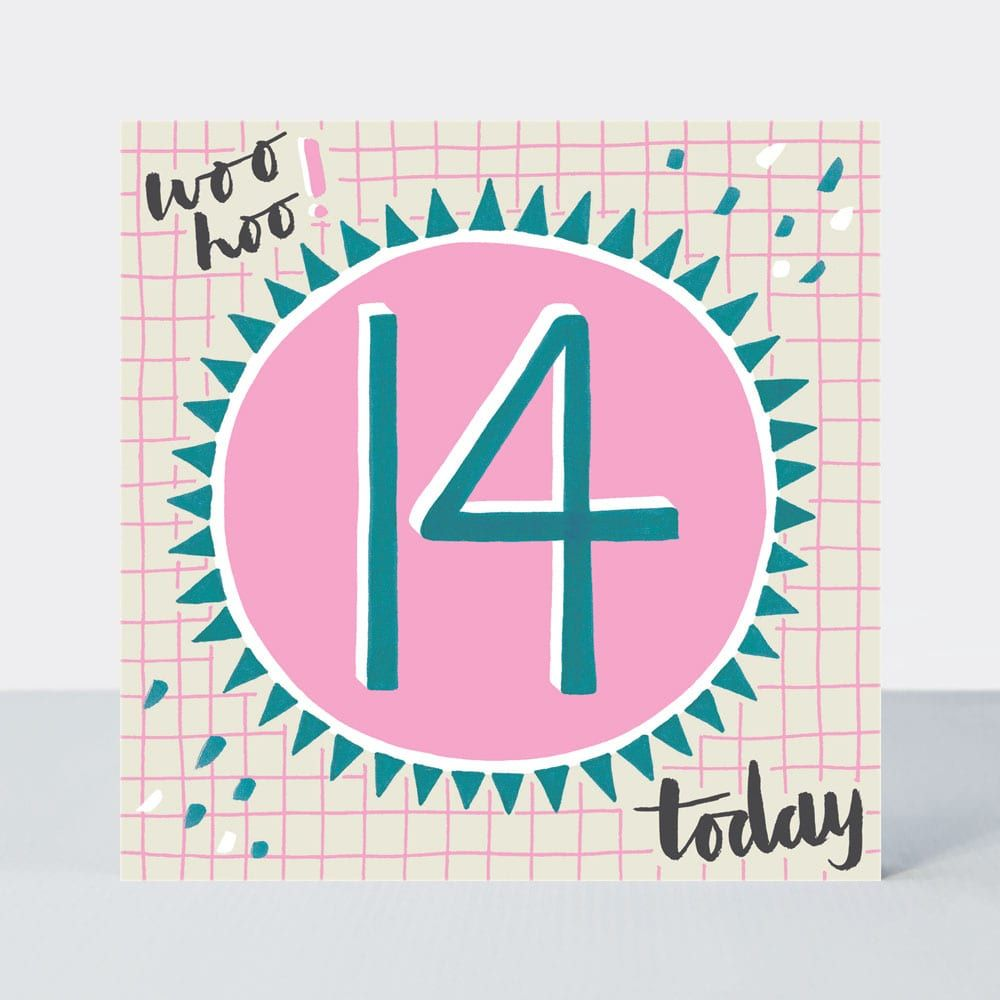 14th Birthday Cards - WOO HOO 14 Today- 14th Teenage Birthday CARDS - 14th