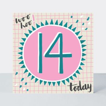 14th Birthday Cards - WOO HOO 14 Today- 14th Teenage Birthday CARDS - 14th BIRTHDAY Girl - 14th BIRTHDAY Card FOR - Niece - DAUGHTER - Granddaughter