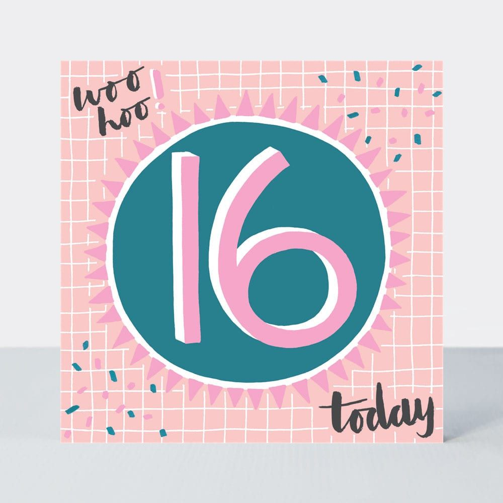 16th Birthday Cards - WOO HOO 16 Today- 16th Teenage Birthday CARDS - 16th