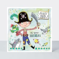 Pirate Birthday Cards - AHOY There MATEY  It's YOUR Birthday - KIDS Birthday CARDS - Pirate BIRTHDAY Card FOR Son - NEPHEW - Grandson
