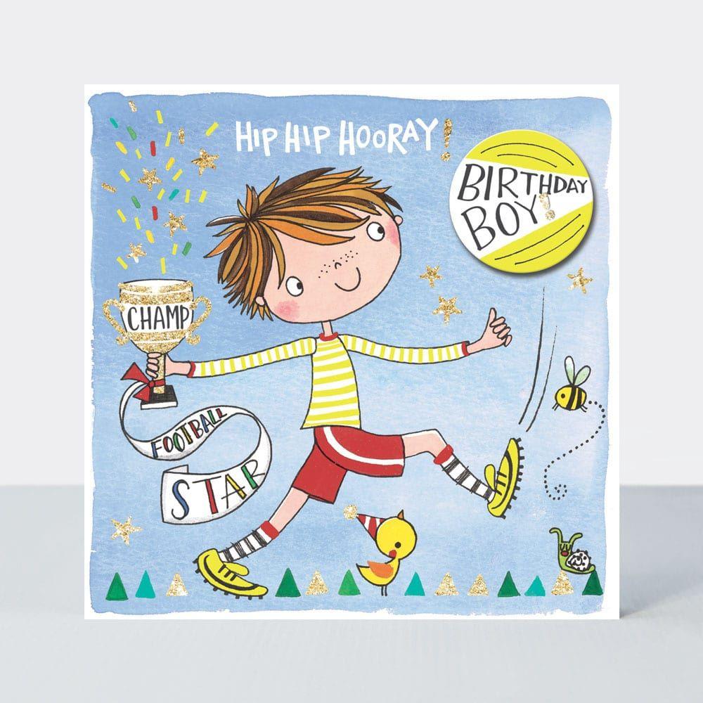 Football Birthday Cards - HIP HIP Hooray BIRTHDAY Boy - KIDS Birthday CARDS