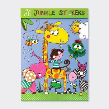 Childrens Stickers - 80 Jungle Stickers - JUNGLE Stickers - STICKER Book - KIDS Craft SUPPLIES - 80 STICKERS In ASSORTED Designs - Jungle STICKER Book