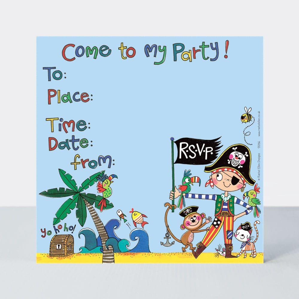 Pirate Party Invitations - PIRATE Birthday INVITATIONS Pack Of 8 - PIRATE I