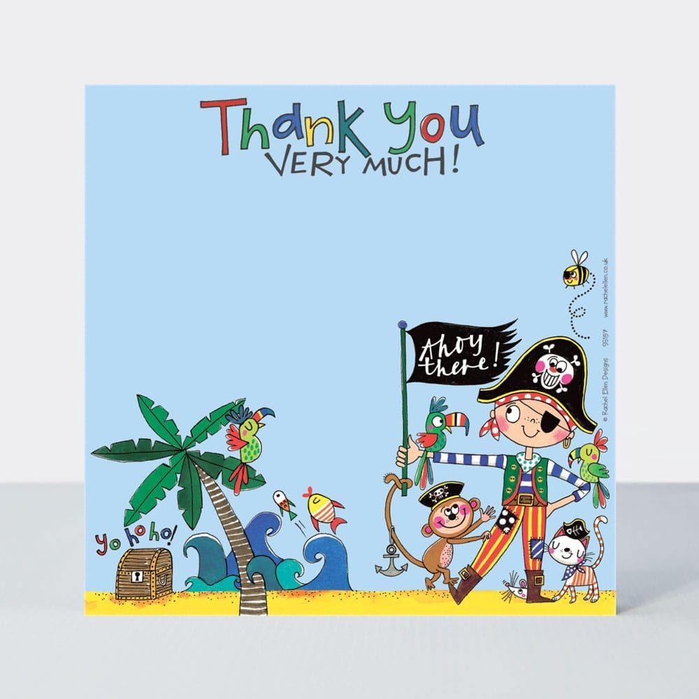 Set of 8 Pirate Thank You Cards - GLITTERY Pirate & Friends Thank YOU Cards