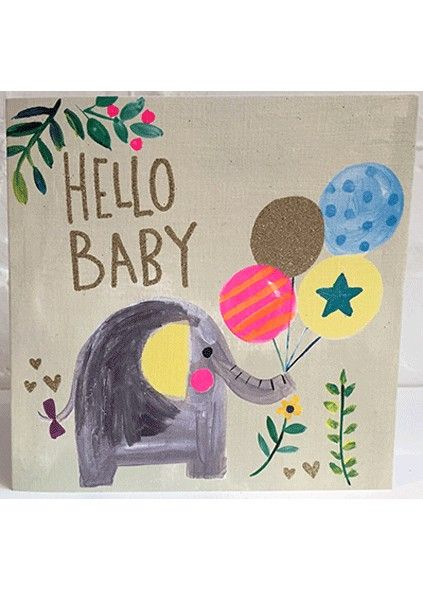 New Baby Cards - HELLO BABY - Cute ELEPHANT & Balloons Baby CARD - New BABY