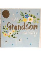 New Grandson Cards - A NEW Grandson HOW Lovely - PRETTY Sparkly NEW GRANDSON Card -  New GRANDSON CONGRATULATIONS - New GRANDSON Card