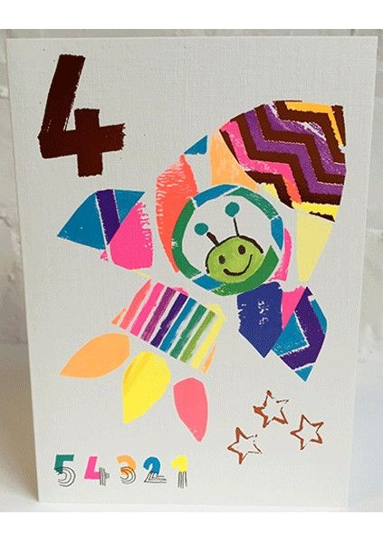 4th Birthday Cards - 4 YEAR Old BIRTHDAY Card -ALIEN In A SPACESHIP Birthda