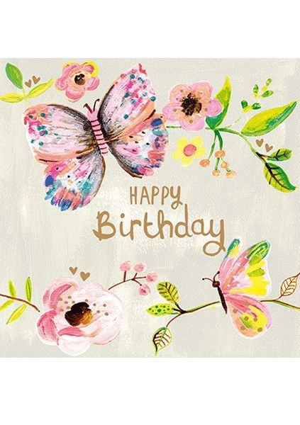 Pretty Birthday Cards For Her - HAPPY BIRTHDAY - Butterfly BIRTHDAY Cards -