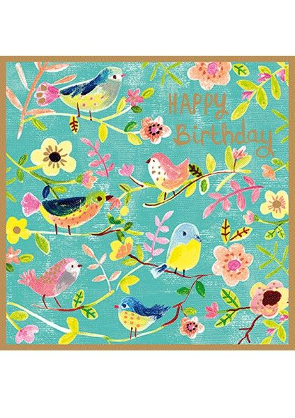 Pretty Birthday Cards For Her - HAPPY BIRTHDAY - Birds & Flowers BIRTHDAY C
