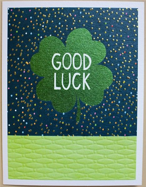 Good Luck Cards - GOOD LUCK - Four LEAF Clover GOOD Luck CARD - Blank CARD
