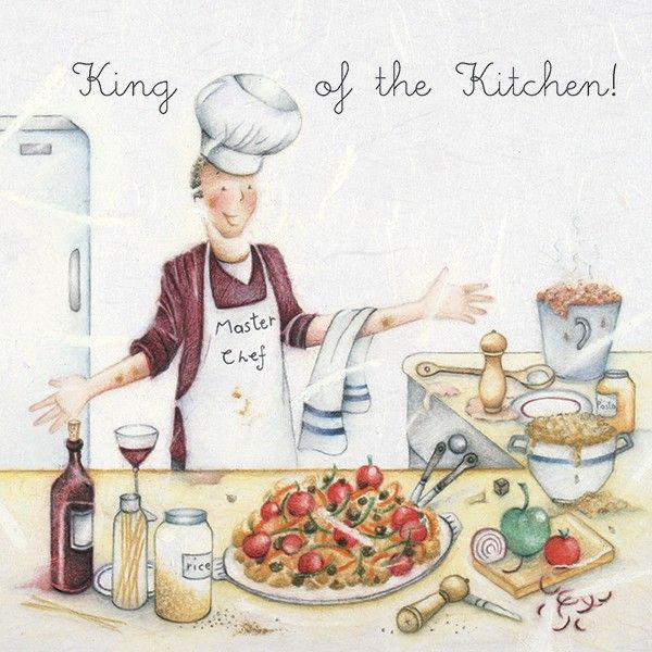 Funny Male Cooking Cards - KING Of The KITCHEN - Funny CHEF Birthday CARDS