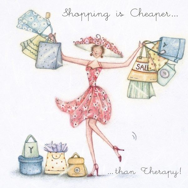 Funny Birthday Cards For Her - CHEAPER Than THERAPY - Shopaholic BIRTHDAY C