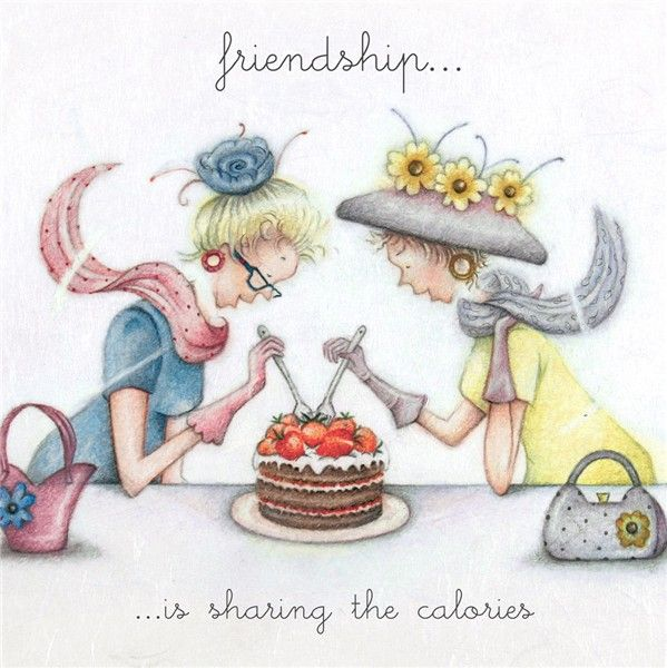 Funny Birthday Cards For Friend - FRIENDSHIP Is SHARING The CALORIES - Cake