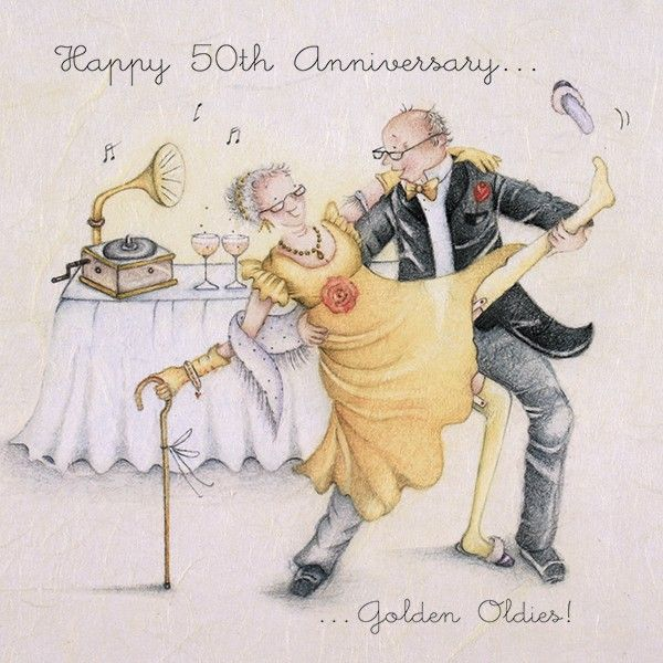 Happy 50th Wedding Anniversary Cards - GOLDEN OLDIES - FUNNY Anniversary CA