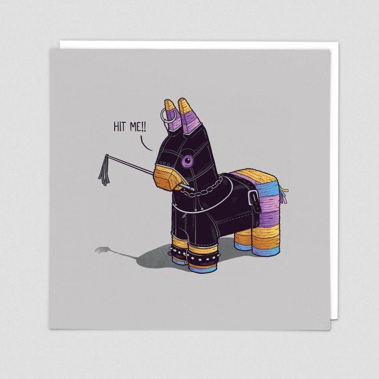 Hit Me Greeting Card - FUNNY Donkey Piñata CARD - Funny GREETING Card - Piñ