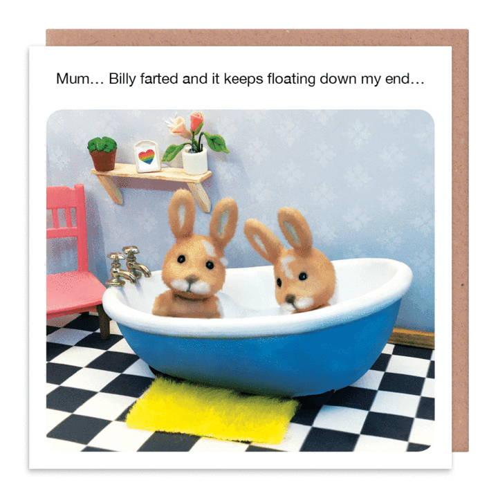 Farting In The Bath Funny Card - BILLY Farted & IT Keeps FLOATING - Funny B