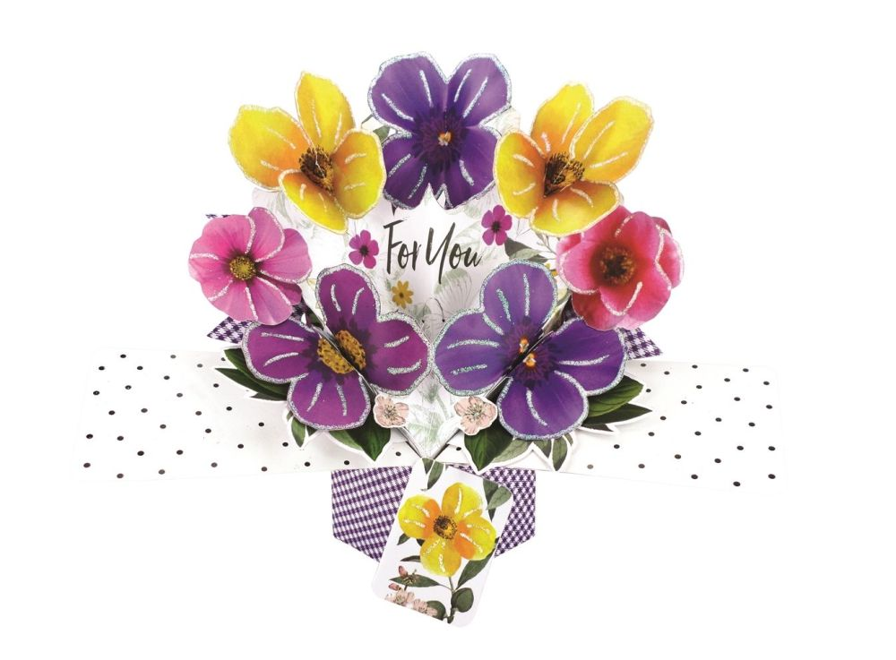 Flower Birthday Cards - FOR YOU - Pansy BIRTHDAY Card - Pop Up Birthday Car