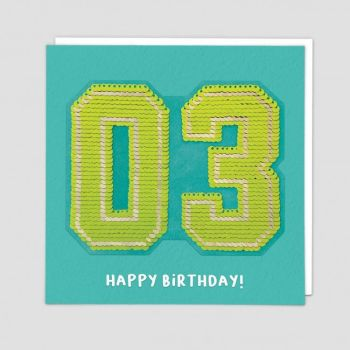 3rd Birthday Cards - HAPPY BIRTHDAY - SEQUIN Cards - 3rd BIRTHDAY - Unique Birthday CARDS - Birthday CARD For SON - Grandson - NEPHEW