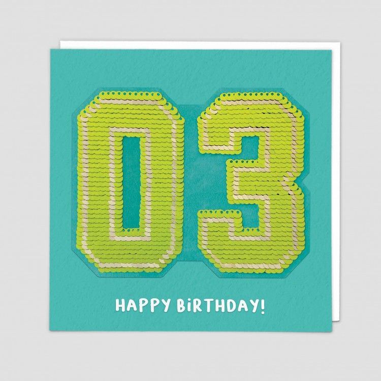 3rd Birthday Cards - HAPPY BIRTHDAY - SEQUIN Cards - 3rd BIRTHDAY - Unique