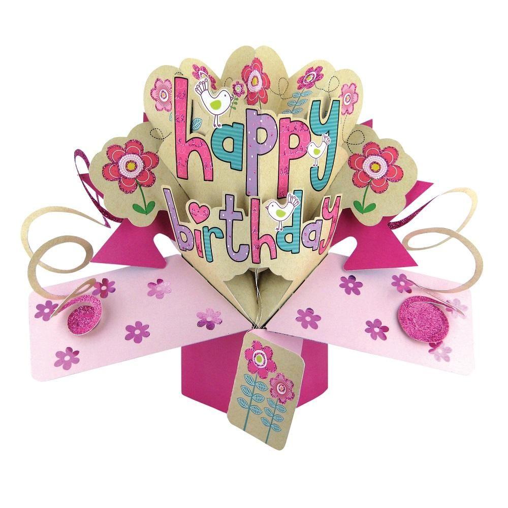 Happy Birthday Cards For Her - HAPPY BIRTHDAY - Cute FLOWERS & BIRDS BIRTHD