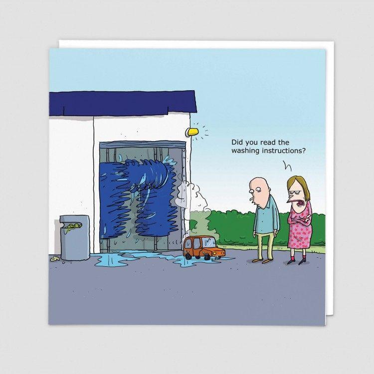 Funny Car Wash Birthday Card - DID You Read THE WASHING Instructions - HILA