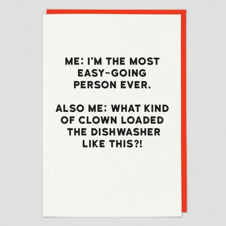 Dishwasher Cards - FUNNY Birthday CARDS - WHAT Kind Of CLOWN - Banter CARDS