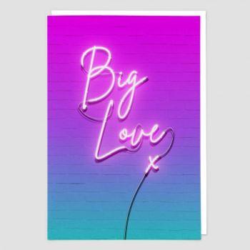 Big Love Birthday Card - NEON Sign BIRTHDAY Card - BLANK Card - FUN Romantic GREETING Card - BIRTHDAY Cards ONLINE