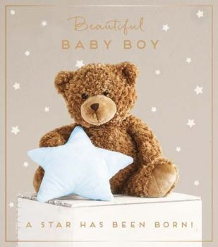 Beautiful Baby Boy Greeting Card - A STAR Has BEEN Born - New BABY Cards - Cute NEW Baby BOY Cards - NEWBORN Baby BOY Cards - NEW Baby BOY