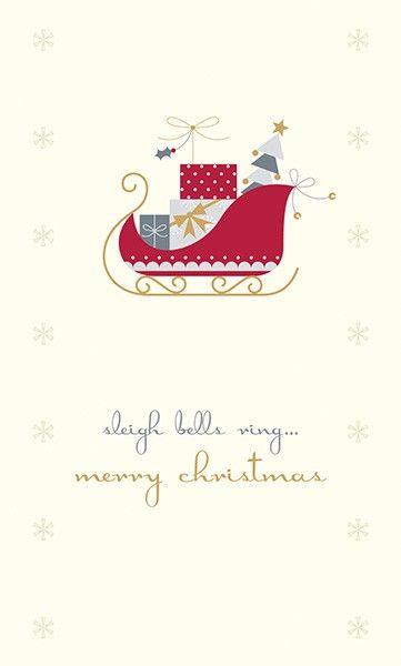 Merry Christmas Greeting Cards - SLEIGH Bells RING - Gem EMBELLISHED Christ