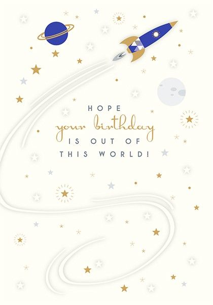 Space Themed Birthday Cards - OUT Of This WORLD - Stylish BIRTHDAY Card For