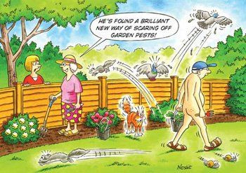 Funny Gardening Birthday Cards -SCARING Of GARDEN PESTS - Naked HUSBAND Bir
