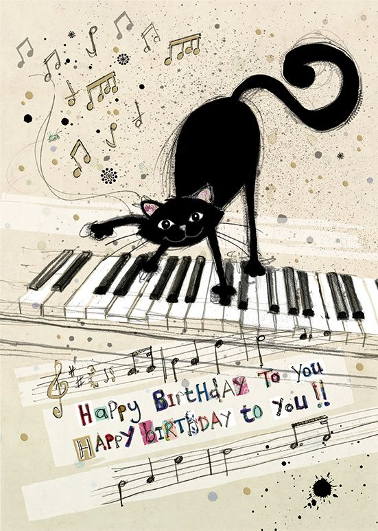 Cat Birthday Cards - HAPPY Birthday To YOU - Cat On KEYBOARD Birthday CARD