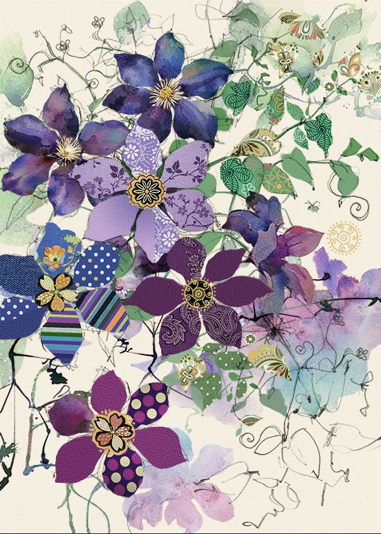 'Clematis' Art Greeting Card For Any OCCASION - PRETTY Purple CLEMATIS Card