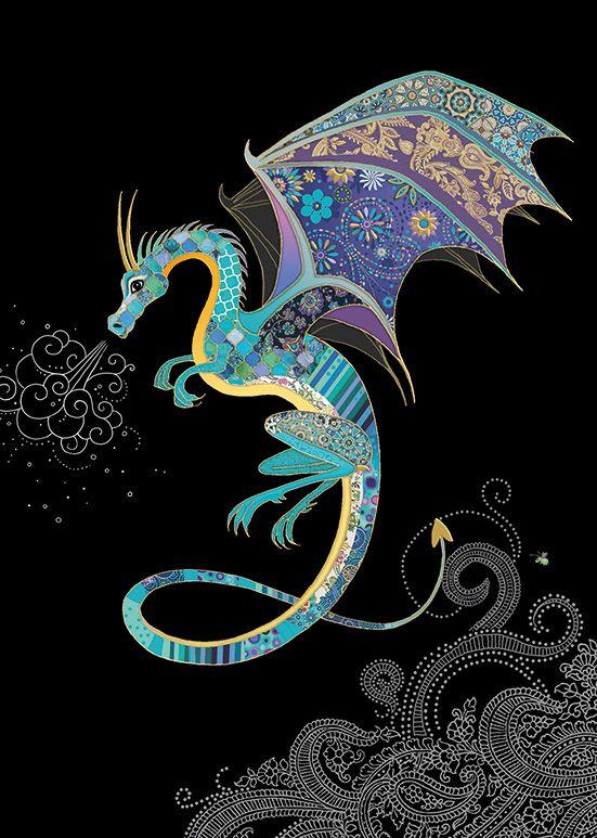 Dragon Card - BLANK Card -BEAUTIFUL Blue DRAGON Greeting CARD - Gold & BLUE