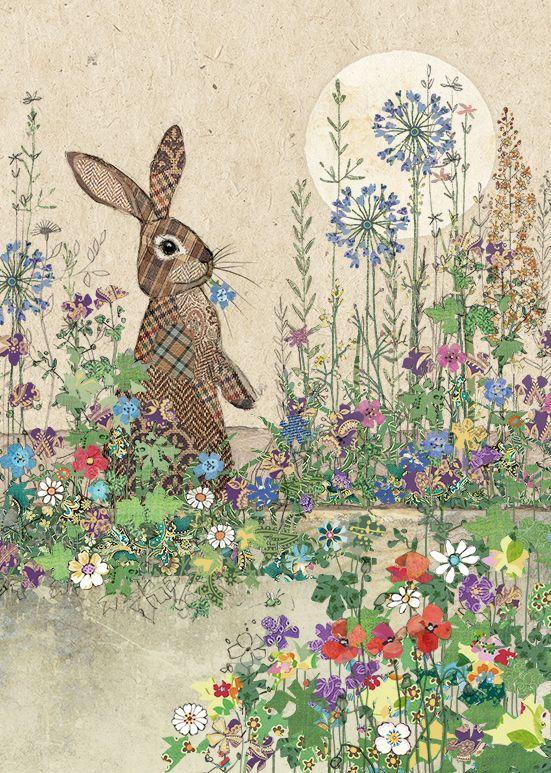 Blank Rabbit Card - Embossed JEWEL Effect Blank GREETING Card - BLANK Art C