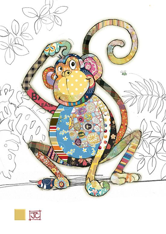 Blank Monkey Card - ARTISTIC Greeting CARD - Quirky MONKEY Greeting CARD -
