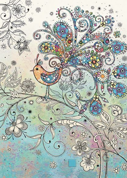 Doodle Bird Blank Greeting Card - Doodle BIRD ART Card - BLANK Cards - EXQU