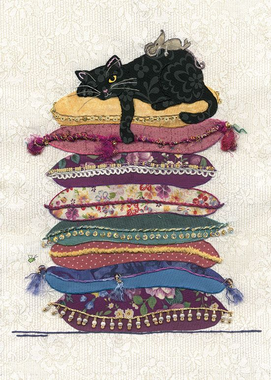 Funny Cat Cards - SLEEPY Cat On CUSHIONS Greeting CARD - BLANK Cards - CAT